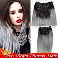 7 pçs/set clipe ins ombre Brasileiro virgem cabelo natural reta cinza ombre 1b humano/grampo em extensões do cabelo cinza pince cheveux