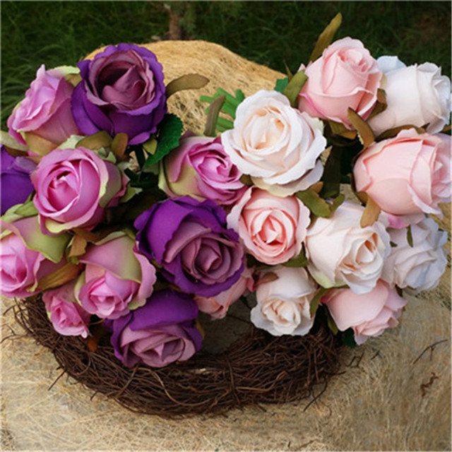 12pcs 3 Types Silk Artificial Rose Bridal Wedding Bouquets Rose ...