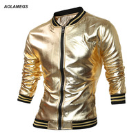 Aolamegs Men Golden Color Jacket Fashion Rock Zipper Cardigan Outerwear Motorcycle Biker Jackets High Quality Male Tops Clothing