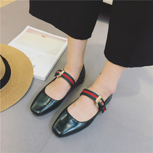 luxury boots for women Square head women's singles Mixed colors Buckle shoes slip on shoes sweet women's flat shoes
