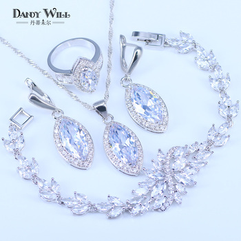 Pretty Women White Zircon Silver Color 925 Stamp Jewelry Sets Bracelets Pendant Necklace Ring Earrings With Stones Set Jewelery