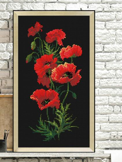14/16/18/27/28  Red Poppy Flowers Cross Stitch Package Plant Sets Aida  Black Cloth People Kit Embroidery  Handmade Needlework