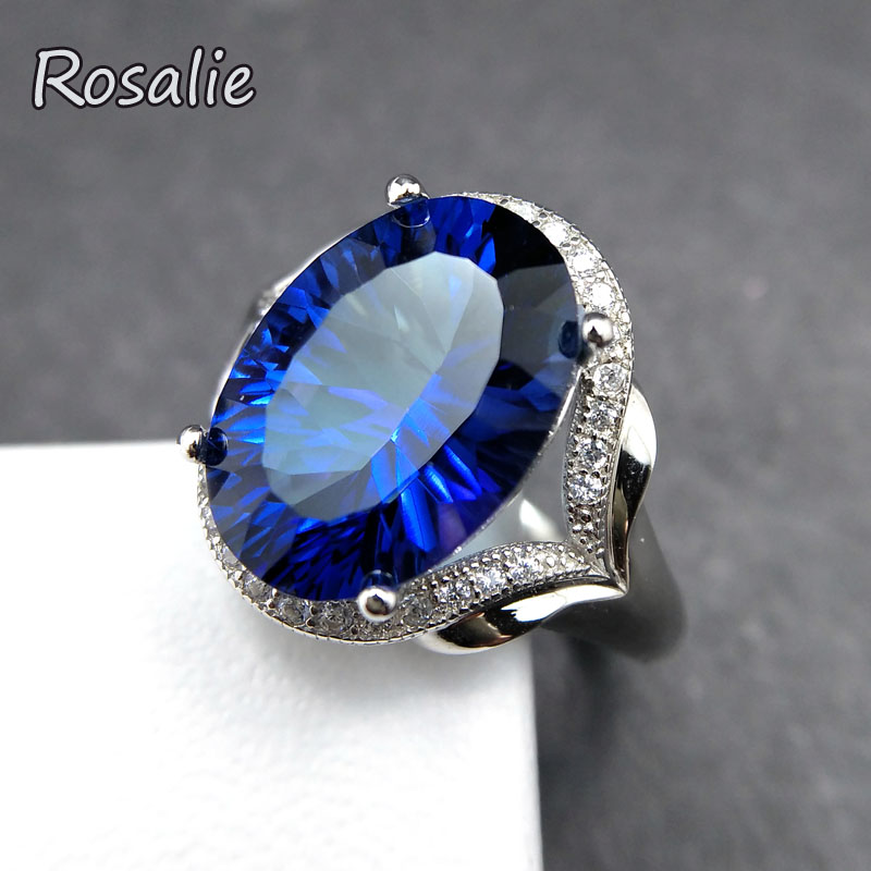 Rosalie,Big shinning natural deep blue treated topaz Ring 8.5ct solid gemstone Ring 925 sterling silver for women fine jewelry rosalie natural 0 5ct yellow sapphire gemstone ring elegant design 925 sterling silver fine jewelry for girls fine jewelry