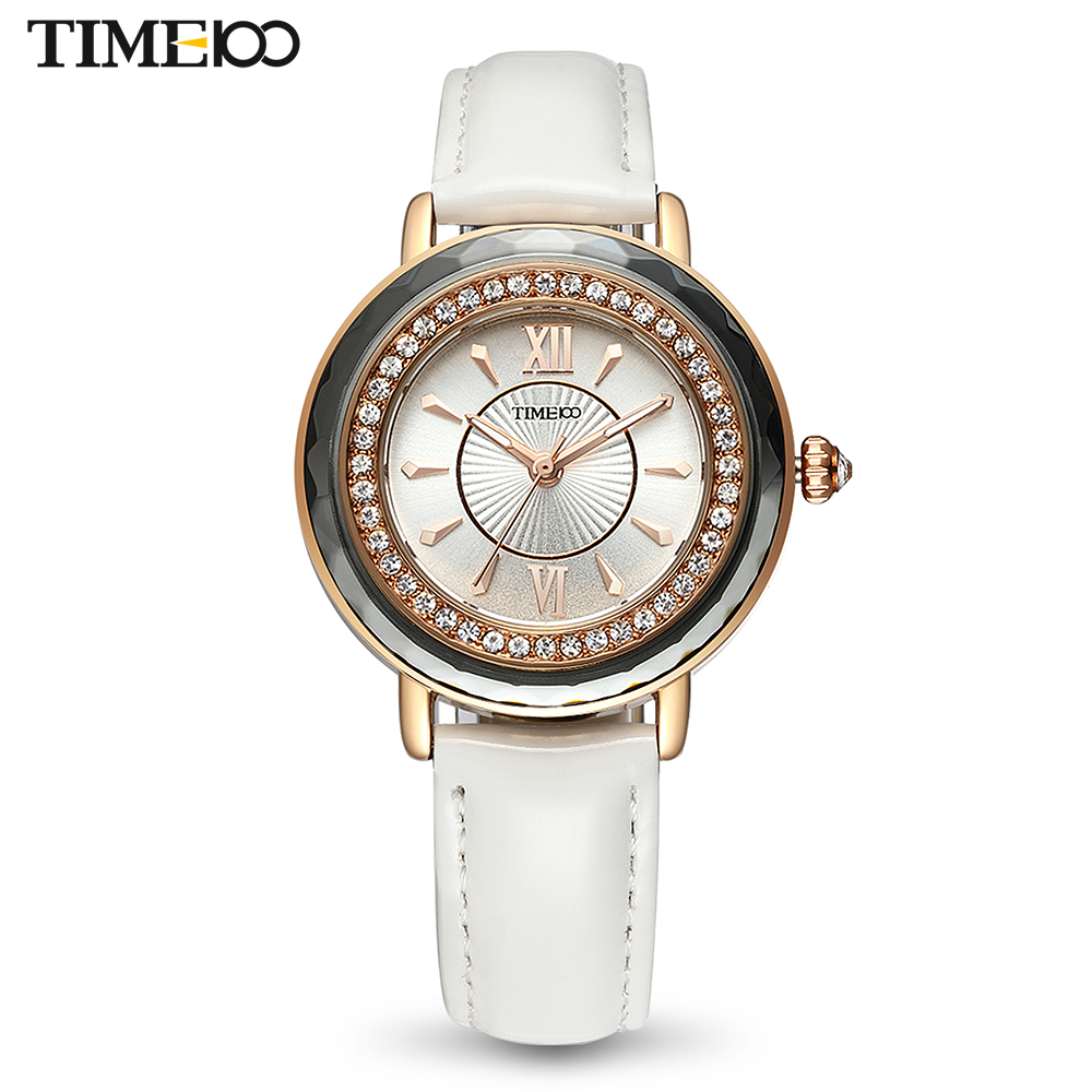 TIME100 Women Watches Leather Strap Diamond Shell Big Dial Waterproof Ladies Quartz Wrist Watch For Women Relogio Feminino amica luxury crystal diamond blue shell dial womens quartz watch ladies watch