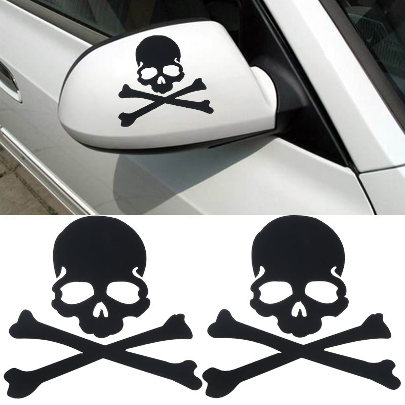 1Pair Hot Selling Skull Design PVC 3D Decoration Sticker For Car Side Mirror Rearview Truck Sticker