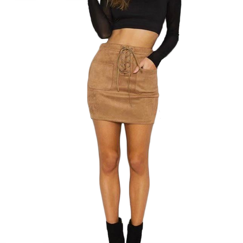 Women Leather Suede Lace Up Bandage High Waist Party Pencil Short Mini Skirt Ladies Womens Brief Solid Skirts Clothes Femme