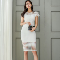 Foamlina 2019 Summer Sexy Hollow Out Bodycon Dress White O Neck Short Butterfly Sleeve Slim Fit Elegant Ladies Party Lace Dress