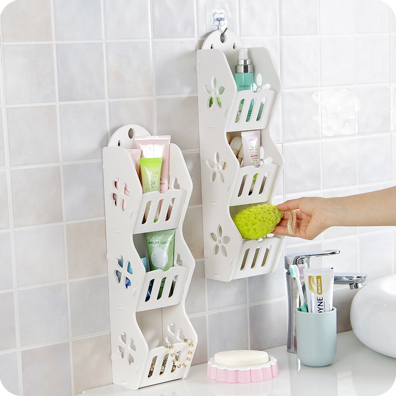Diy hollow design wooden bathroom storage rack multilayer - Wall mounted wooden temple design for home ...