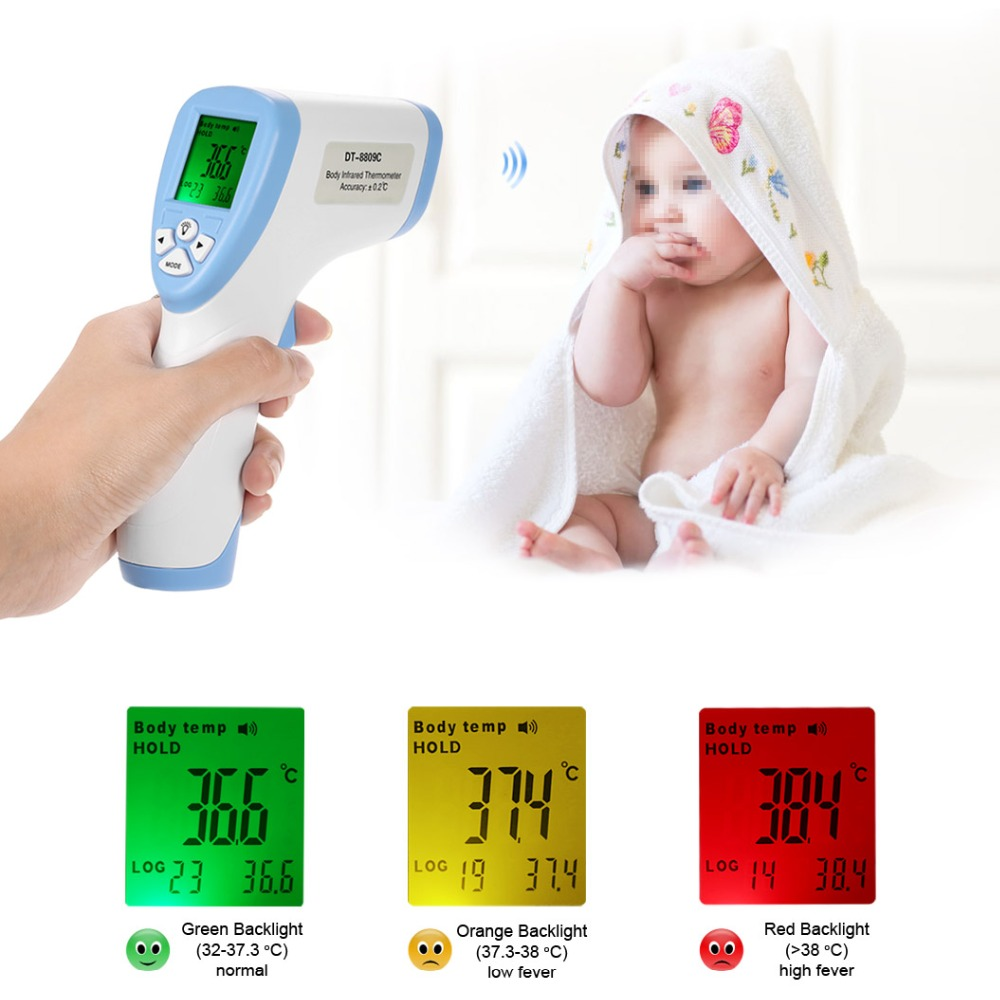 Digitale Termometro IR A Raggi Infrarossi Bambino di Età Senza contatto Della Fronte della Superficie Del Corpo Termometro A Infrarossi Con DISPLAY LCD Termometro