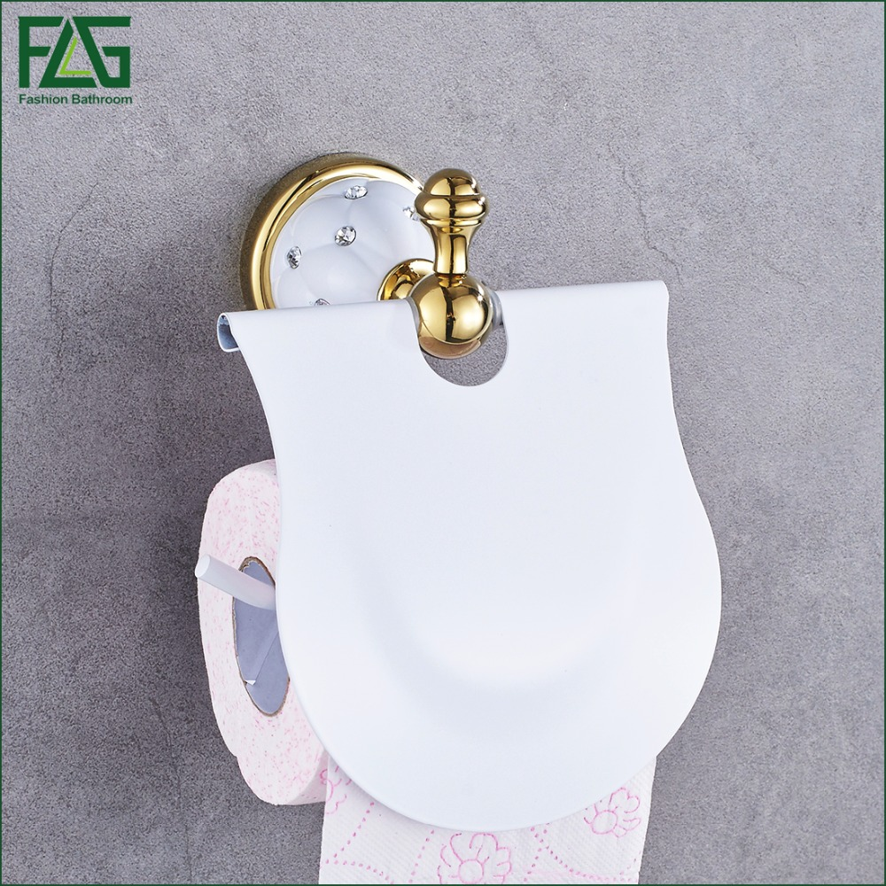 Gold Toilet Paper Holder with diamond,Roll Holder,Tissue Holder,Solid Brass -Bathroom Accessories Products Free Shipping 21204W new pure luxury white painting toilet lavatory wc paper holder with diamond roll tissue porte papier bathroom accessories