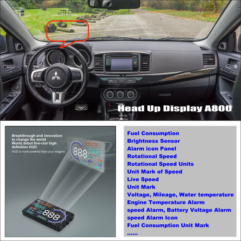 For Mitsubishi Lancer EX Evolution -Car HUD Head Up Display- Reflect your car information onto windshield to monitor your speed car hud head up display for vw beetle 2003 2010 show your car information onto windscreen to avoid speeding infringements