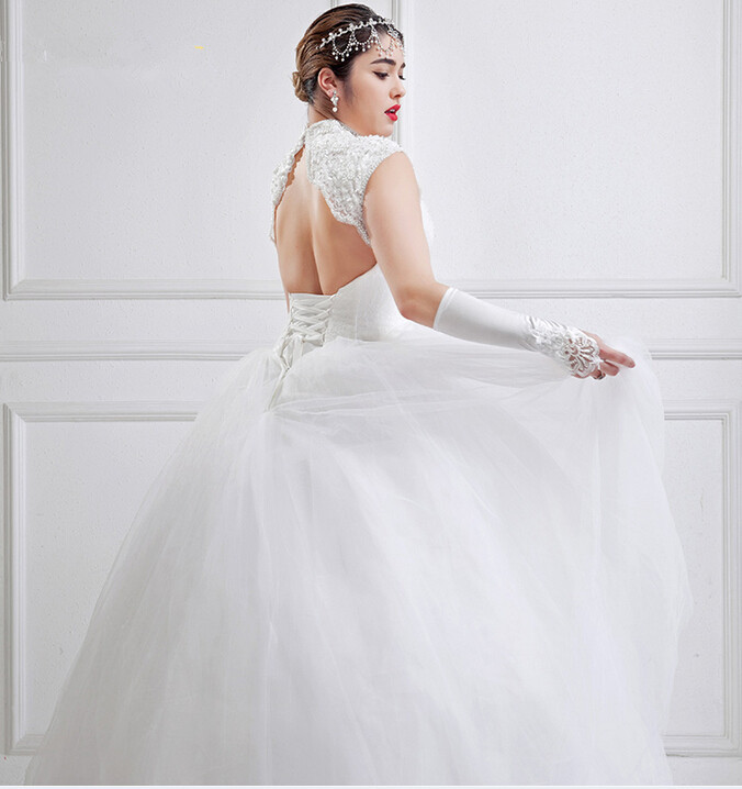 5a5daec0ceb High Neck Large Size Wedding Dresses White Tulle Open Back Ball Gown Full  Figure Bridal Gown For Big Women Custom Made-in Wedding Dresses from  Weddings ...