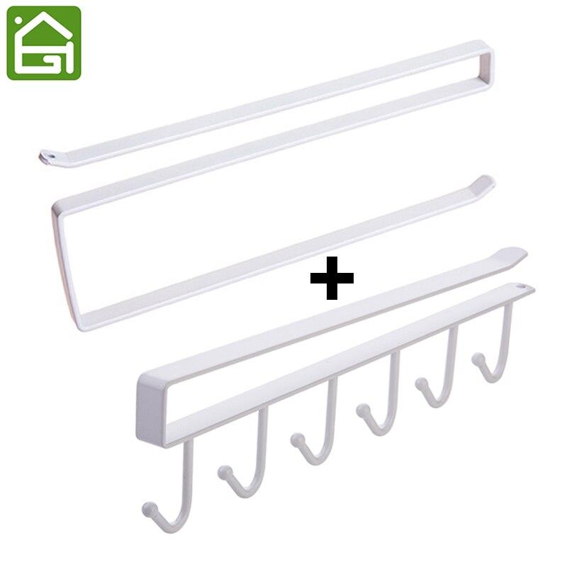 2 pcs Rustproof Kitchen Cabinet Roll Paper Cup Towel Hanger Door Plastic Wrap Dispenser Rack Tissue Paper Hanging Organizer