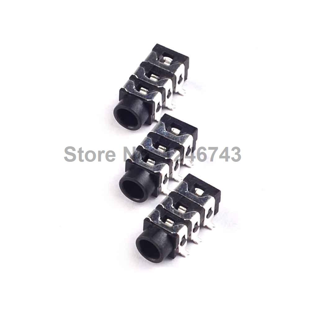 10PCS 3.5mm 6Pin SMD Stereo Headphone Audio Jack Earphone Socket Audio Socket PJ313 The 3 Section Of the 6 pin 10pcs phone jack diameter 3 5mm 7 pin audio socket for 4 poles earphone plug smd type reflow solderable with locators dc30v 0 5a