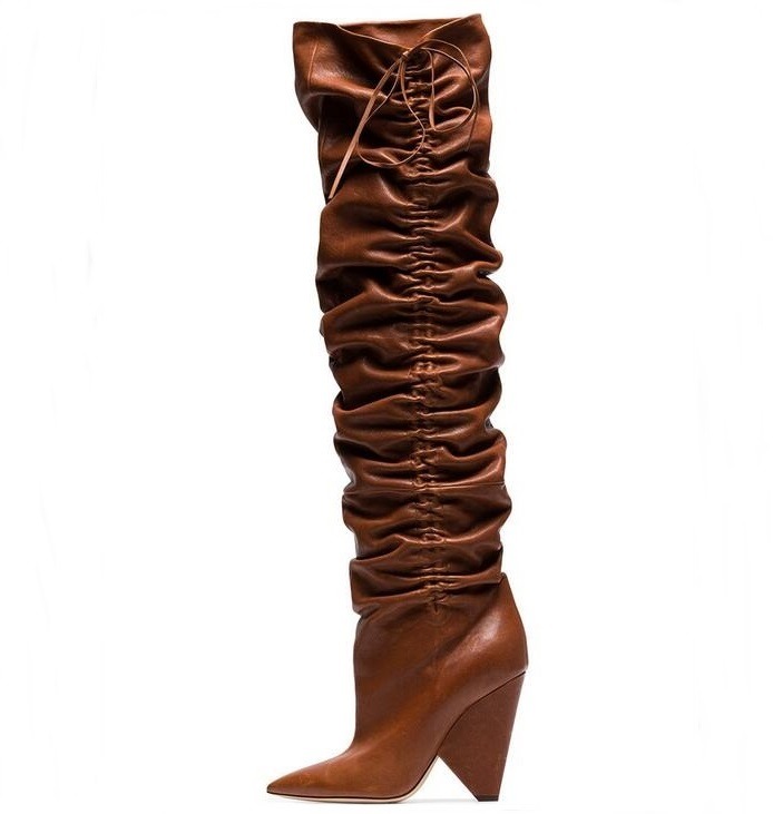 New Arrivals Bronw Leather Wrinkle Winter Boots for Women Pointed Toe Lace-up Hoof Heels Mid Calf Plus Size 10