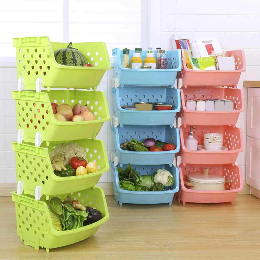 Durable Stackable Storage Basket Hollow Fruit Vegetable Storage Box Kitchen Organizer Basket Home Kitchen Organization