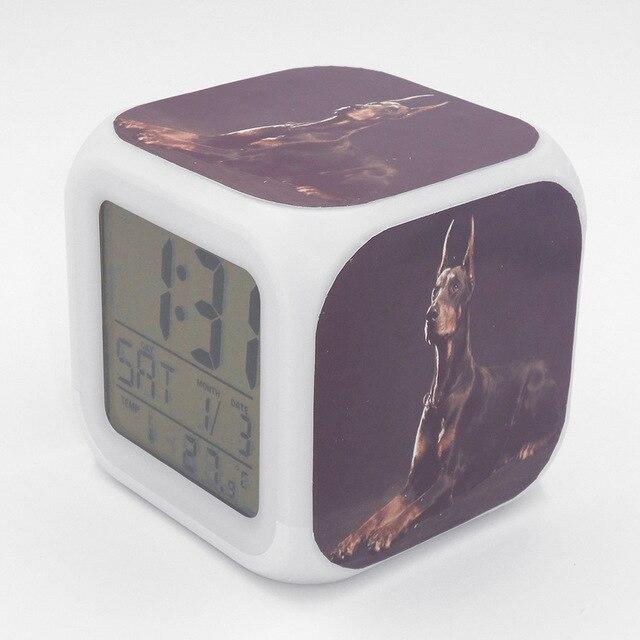 Led Alarm Clock Doberman Pinscher Dog Puppy  Creative Desk Table Clock Glowing Electric Led Digital Alarm Clock Kids Toy Gift