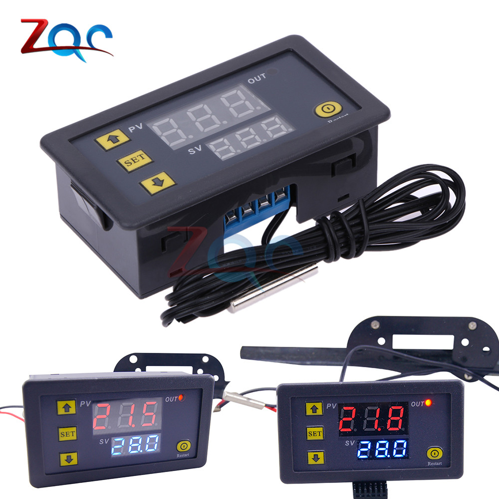 W3230 DC 12V AC 110V 220V 20A LED Digital Temperature Controller Thermostat Thermometer Temperature Control Switch Sensor Meter