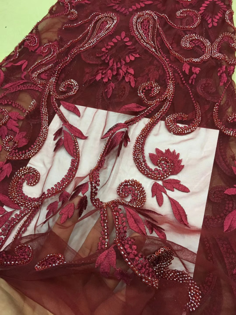 New arrivals off white/wine beads on tulle mesh embroidery lace fabric wedding/party/evening dress lace fabric 1yardsNew arrivals off white/wine beads on tulle mesh embroidery lace fabric wedding/party/evening dress lace fabric 1yards