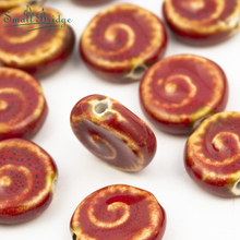 18mm China Red Smooth Ceramic Beads for Women Handmade Necklace Braided bracelet DIY Cerative Material  Loose Porcelain beadsT26