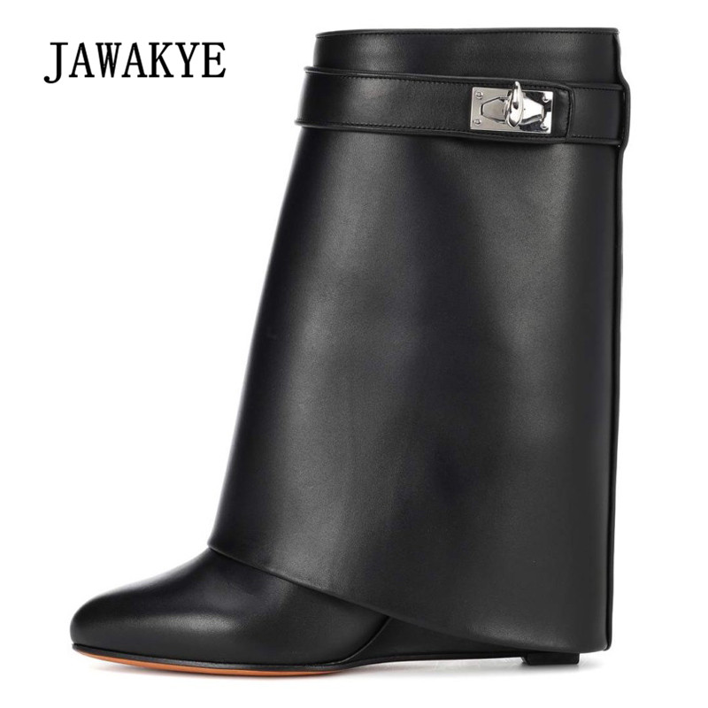 83a3de4931c 2019 Shark Lock Design Ankle Boots Woman Pointed Toe Real Leather Height  Increasing Wedge Mid-