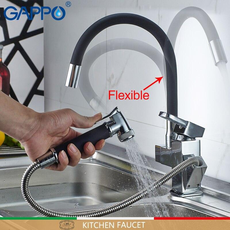 Gappo для кухни черный гибкий Кухня Раковины воды смесители смеситель Поворотный Кухня вытащить воды смесители