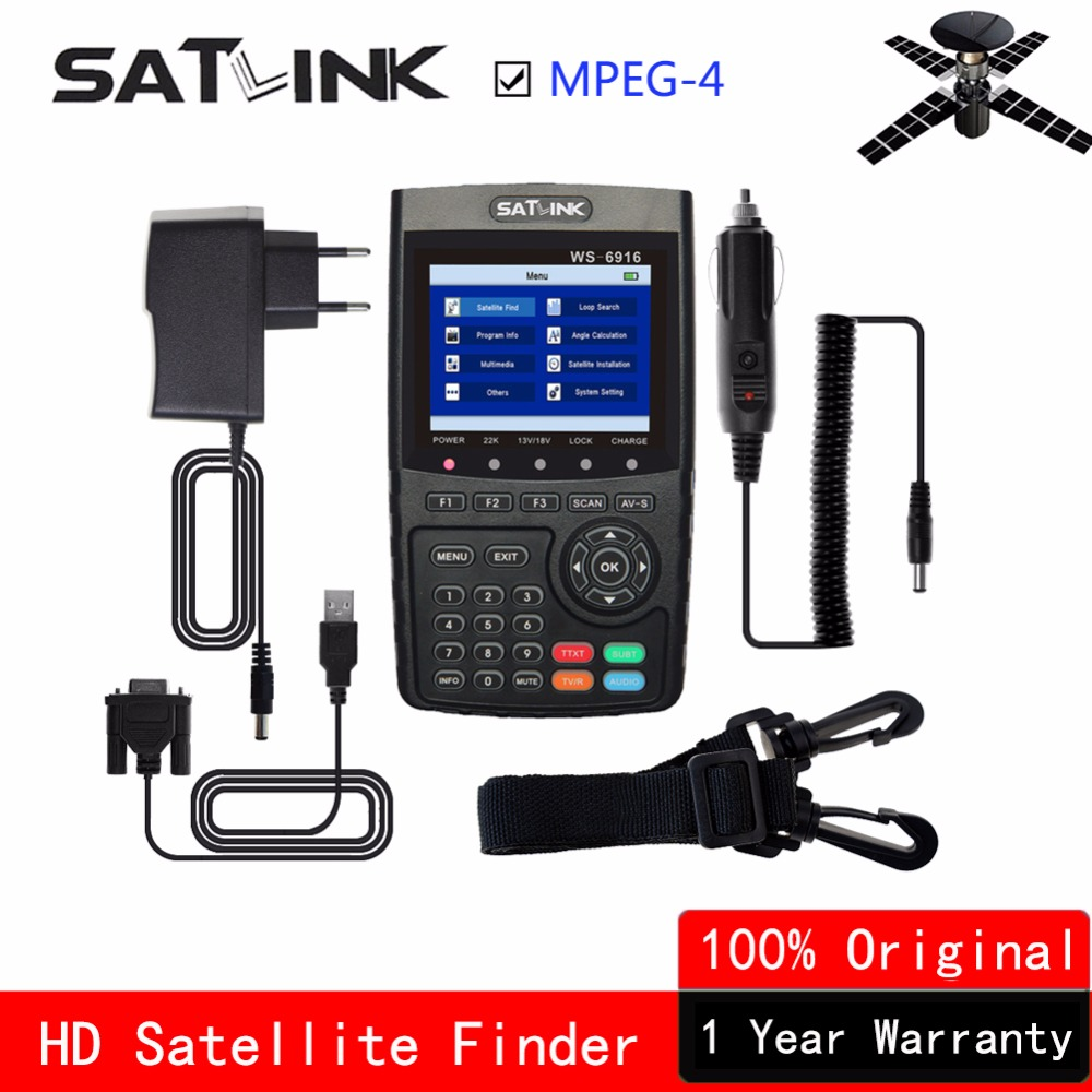 [Genuine] Satlink Satellite Finder WS-6916 HD DVB-S2 High Definition Satlink 6916 satfinder 3.5 inch MPEG-4 lnb Satellite Meter 1pc original satlink ws 6933 ws6933 dvb s2 fta c ku band digital satellite finder meter free shipping