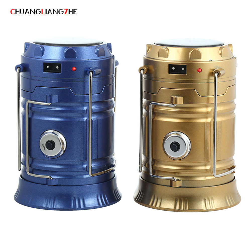 CHUANGLIANGZHE Multifunctional Camping Lantern Solar Charging Emergency Light Portable LED Portable Lighting Flashlight