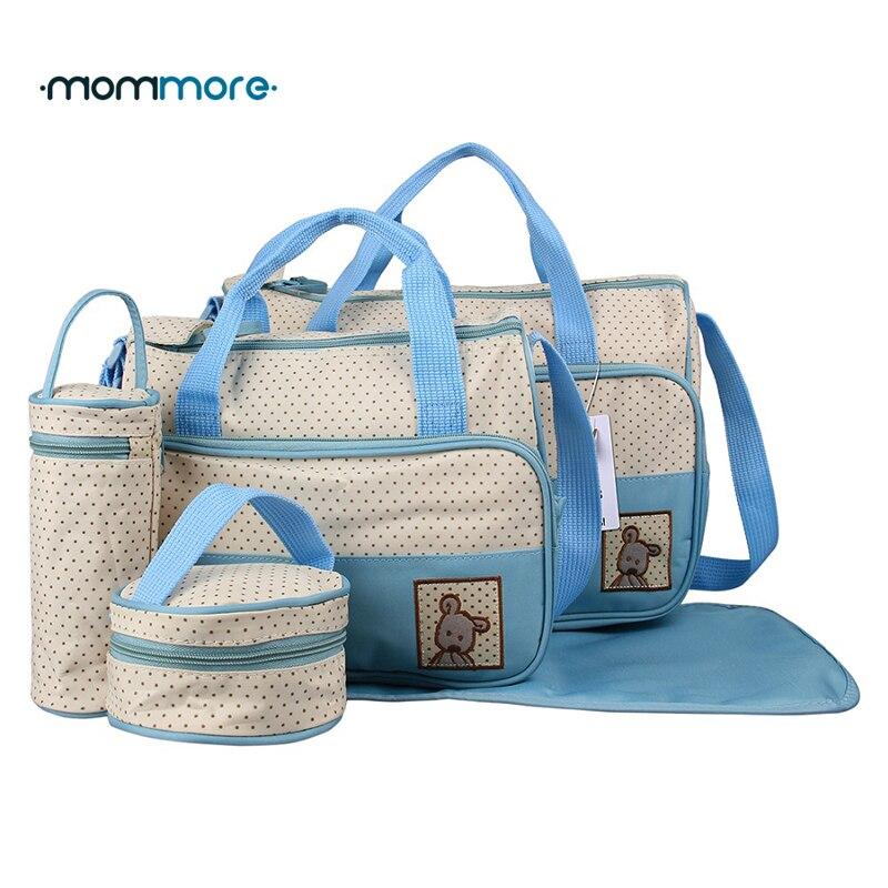 Mommore 5 stücke Baby Windel Wickeltasche Mit Wickelauflage Flaschenhalter Mutter Tote Mummy Food Handtaschen Wasserdichte Kinderwagen Tasche