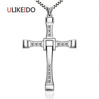 925 Sterling Silver Jewelry Fast and Furious 8 Vin Pendant With AAA Zircon Crosses Rotatable Necklace High Quality Choker 098