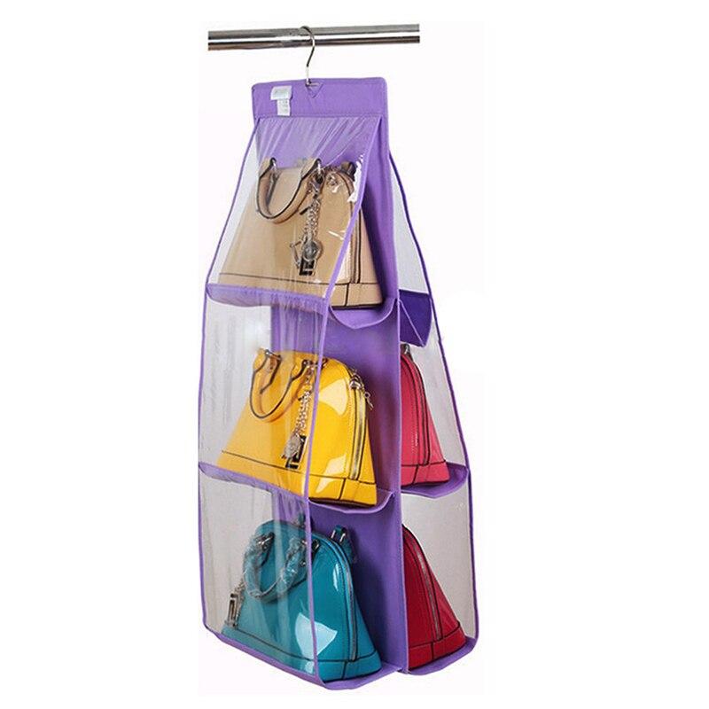 6 отсеков для хранения висячего висит органайзер для обуви, сумок сумка фиолетовый