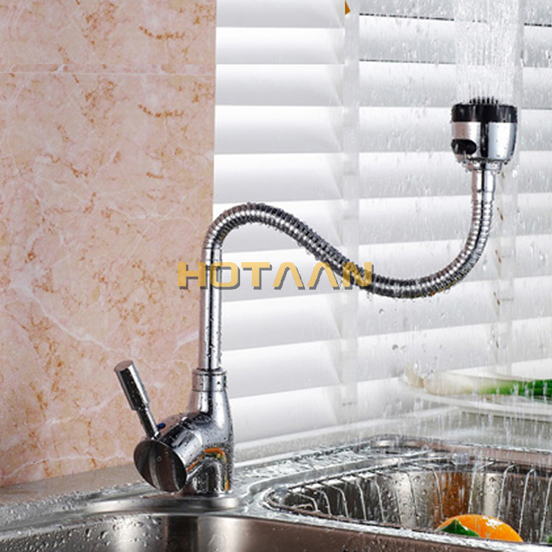 Image 3 - Free Shipping Solid Brass Kitchen Mixer Cold and Hot Kitchen Tap Single Hole Water Tap Kitchen Faucet torneira cozinha YT 6003-in Kitchen Faucets from Home Improvement
