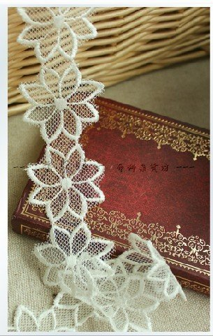 milk white color pretty embroidered lace, net mesh lace flower, handmade diy accesories