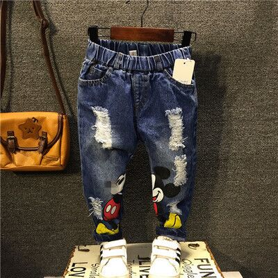 I Bambini Del Fumetto Dei Ragazzi Del Denim Dei Jeans Fori Rotti Strappato I Pantaloni Pantaloni Di Cotone Morbido Elastico In Vita Casual Abbigliamento Per Bambini