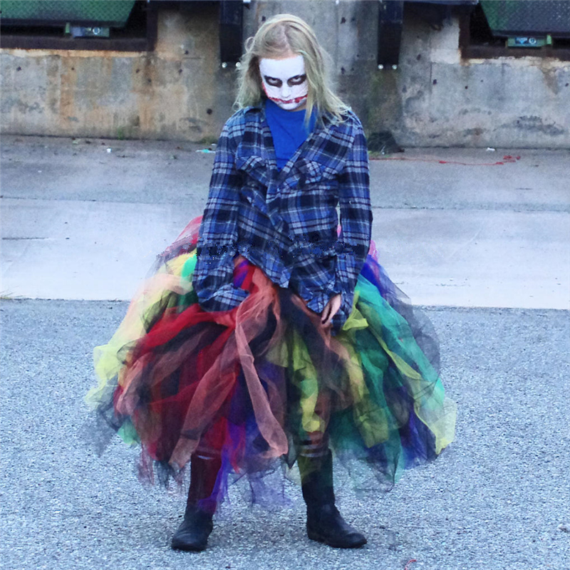 Scary Baby Girl Halloween Costumes.Us 13 76 30 Off 1 12 Years Rainbow Baby Girl Tutu Skirt Evil Halloween Costume For Kids Scary Monster Pageant Cosplay Girls Skirts Pq131 In Skirts