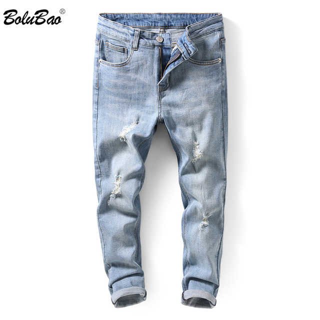 6e2b4f6a6c1 BOLUBAO Fashion Men Hole Jeans High Street Motorcycle Biker Jeans Men Hip  Hop Ripped Slim Fit Jeans Pants