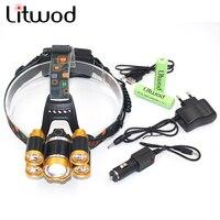 Litwod z30 5 שבבי Led פנס מתכוונן XM-L T6 LED ראש מנורת פנס Lanterna פנס 12000 לום 4 דגם מתג