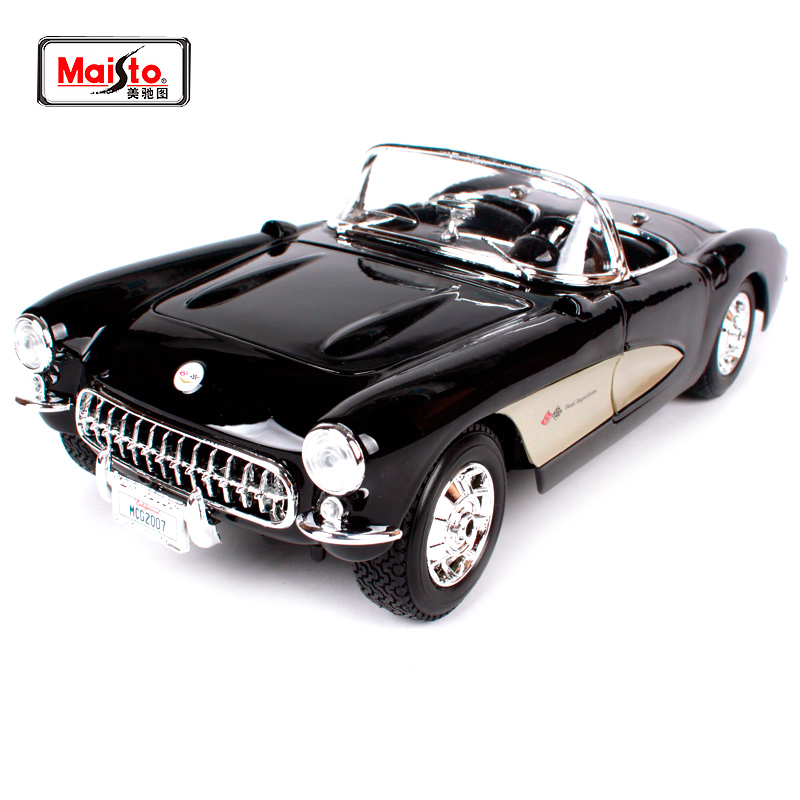 Maisto 1:18 1957 Chvrolet Corvette Police car Old Car model Diecast Model Car Toy New In Box Free Shipping 31139 maisto bburago 1 18 1959 jaguar mark 2 ii diecast model car toy new in box free shipping