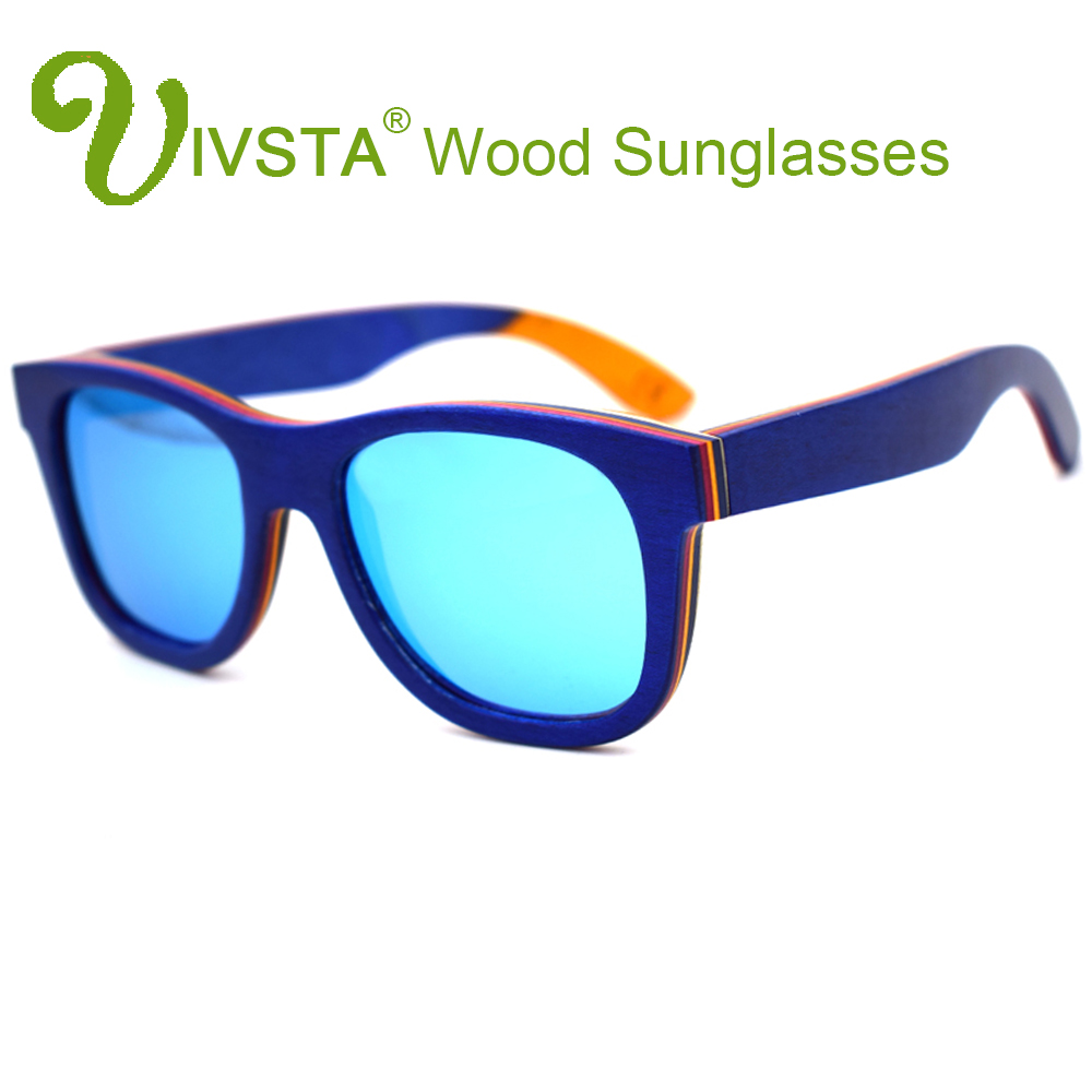 b29db56caff IVSTA Real Skateboard Wood Sunglasses Polarized Wooden Sunglasses Men  Handmade Natural Stainless Steel Spring Hinge Mirror