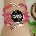 Glass Picture Rock Band My Chemical Romance  Bracelets Punk   Leather Braided Rope 100% Handmade Glass Dome Bracelets  Br2054