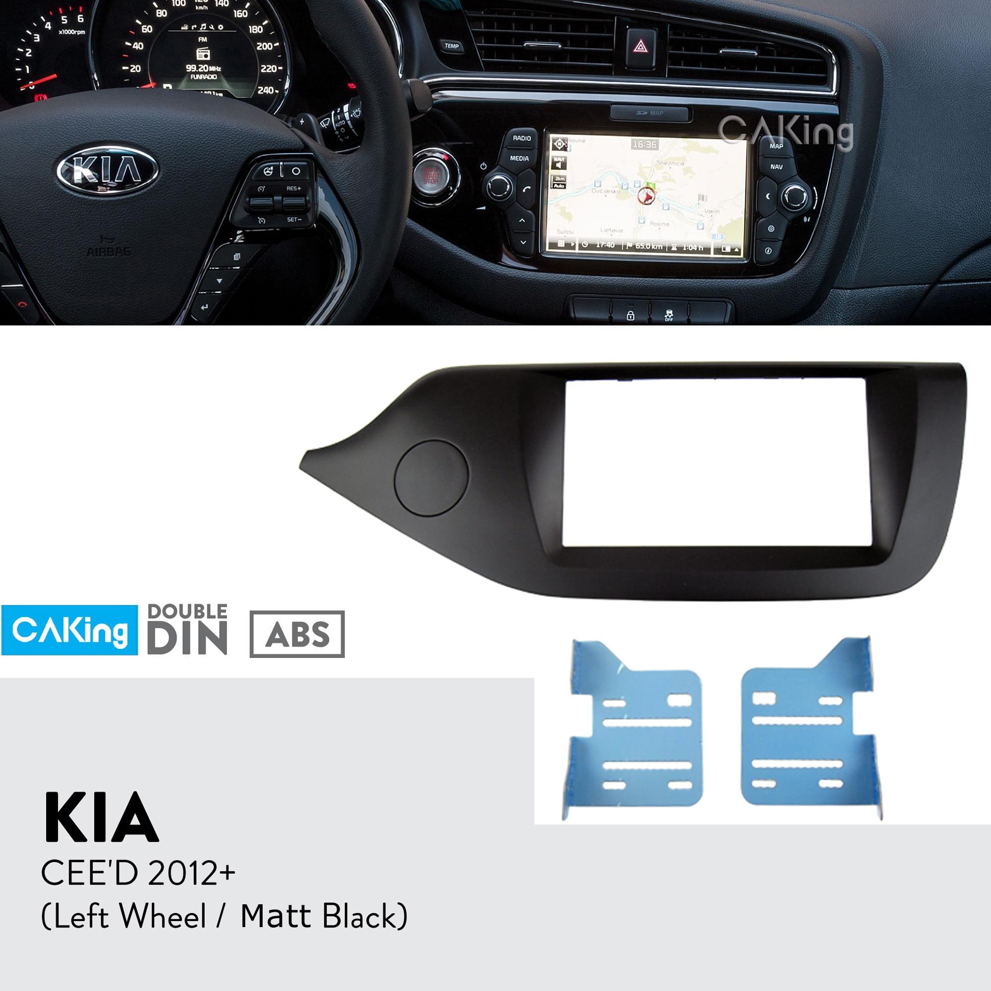 Double Din Car Fascia Radio Panel for KIA CEED 2012 Left Wheel Matt Black Dash Kit
