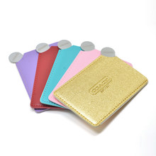 Portable Mini Shatter Proof Card Style Pocket Cosmetic Mirror PU Leather Cover Stainless Steel Unbreakable Makeup Mirror J11(China)
