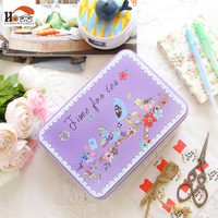 1x Cartoon Desktop Drawer Receive Box Candy Storage Box Biscuit Gift Tin Boxes Cable Organizer Container