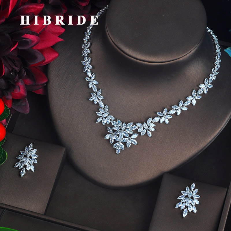 HIBRIDE Luxury Marquise Cut CZ Jewelry Sets For Women Bride Pendientes Jewelry Set Brincos Bijoux Mariage Necklace Set N-628 hibride luxury new butterfly shape earring necklace jewelry set women party jewelry small link pendant brincos bijoux n 643