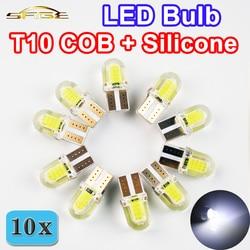 Flytop Led-lampe T10 W5W COB + Silikon Shell 20 Chips Kalte Weiße Farbe 12 v Canbus Auto Seite keil /lizenz Platte Lampe (10 stücke)