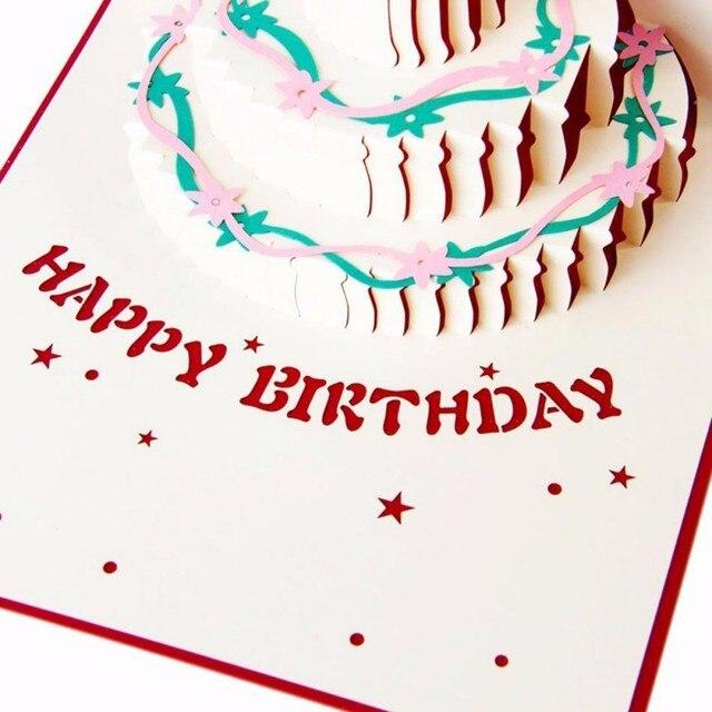 Us 377 Kleur 3d Taart Verjaardag Kaarten Wenskaart En Envelop Voor Beste Wensen Van Verjaardag Wenskaart Diy Handgemaakte Nieuwe Jaar In Kleur 3d