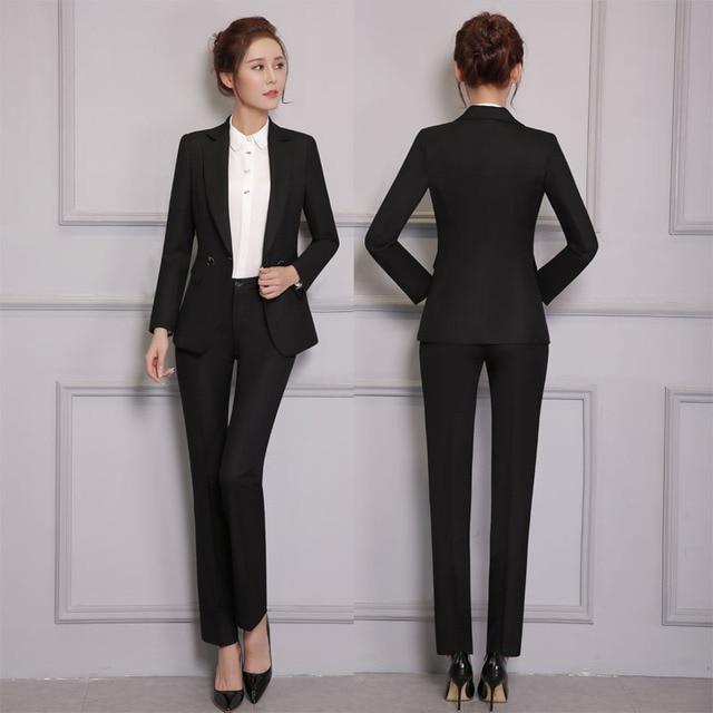 f448687836a9 Nuevo Profesional Trajes de Pantalón Con Chaquetas Y Pantalones para Damas  Oficina Mujer Blazers de Trabajo