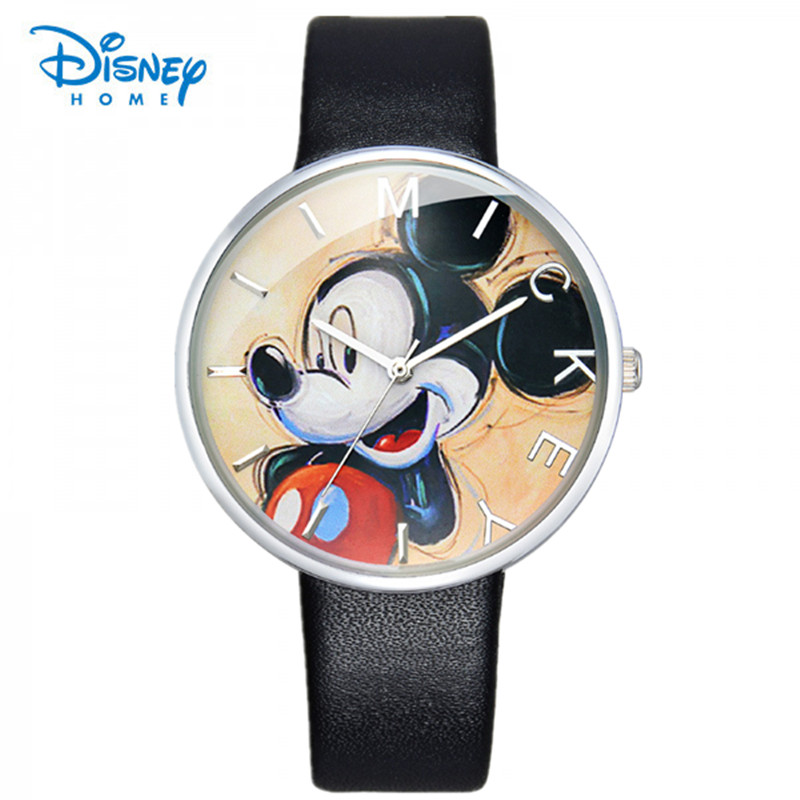 100% Genuine Disney Fashion Watch Mickey Children Cartoon Watch Leather Wristwatch Casual Kid Boy Quartz Watch Women Girl Reloje