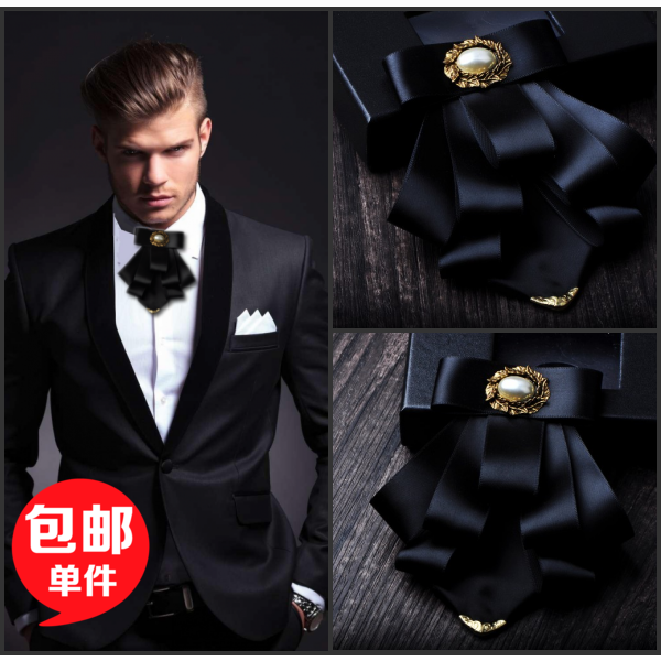 Ny Gratis frakt mode casual Mäns manliga gyllene horn slips brudgummen Groomsmen flera brudgummen BOW TIE affärsvakter Headdress