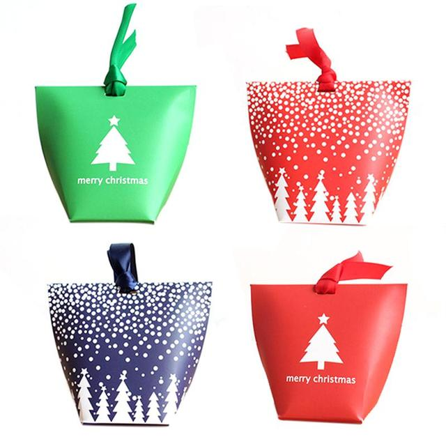 diy christmas gift bags with rope handle snowflake pattern candy apple paper box container for christmas